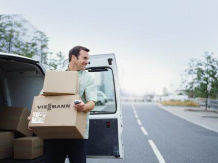 A courier delivering parcels